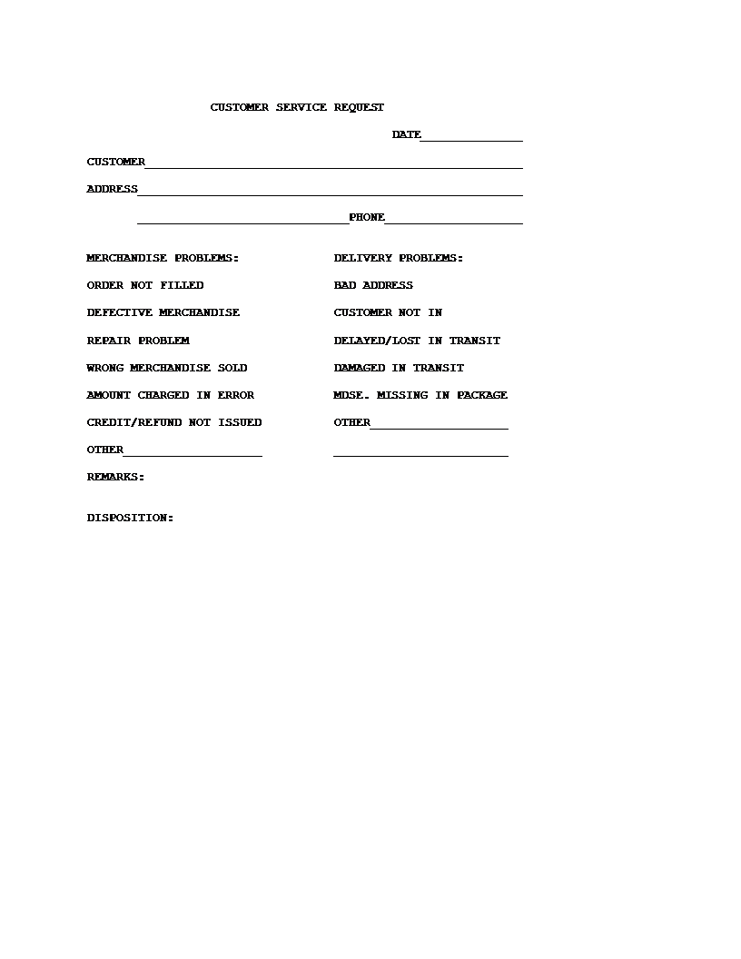 Customer Service Request Form Template  Customer Form Sample