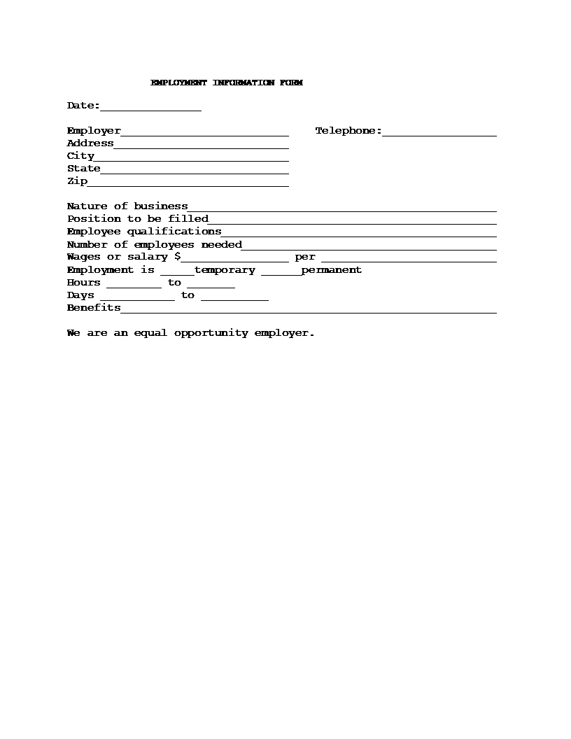 Information Form Template – Employee Information Form Sample