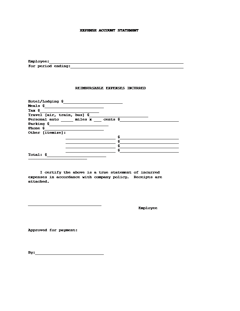 Expense Account Statement Template .  Blank Bank Statement Template