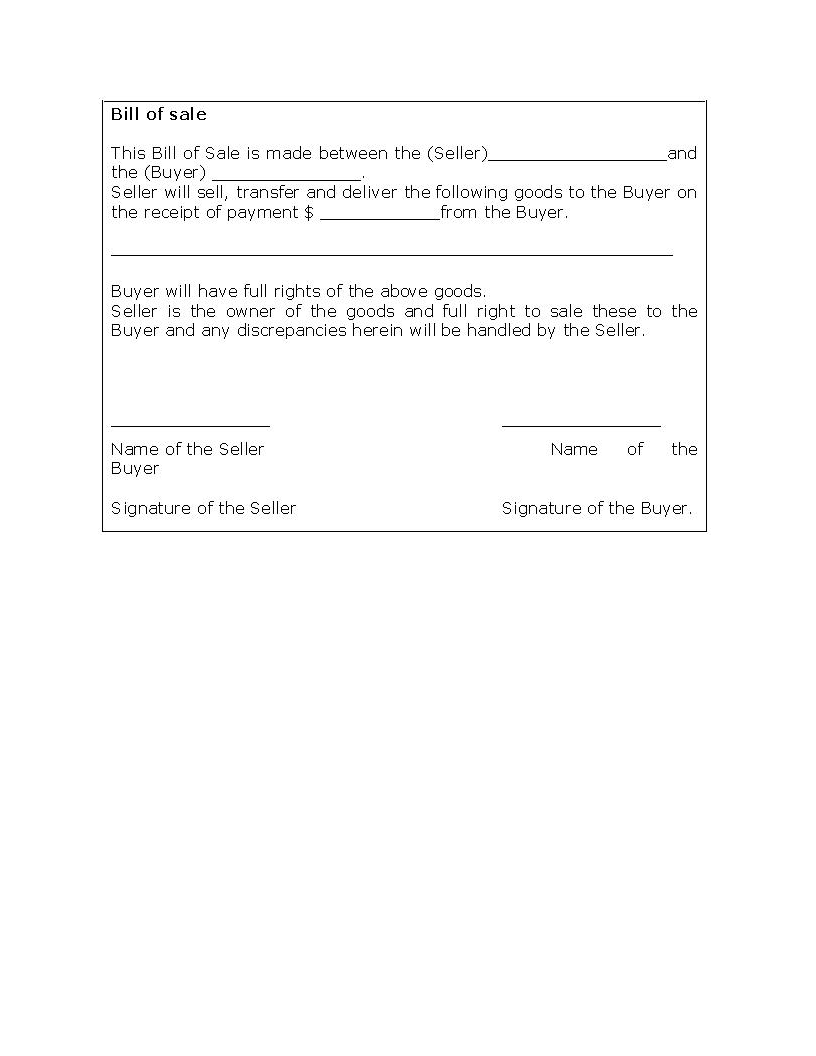 Bill Of Sale Form Template Template