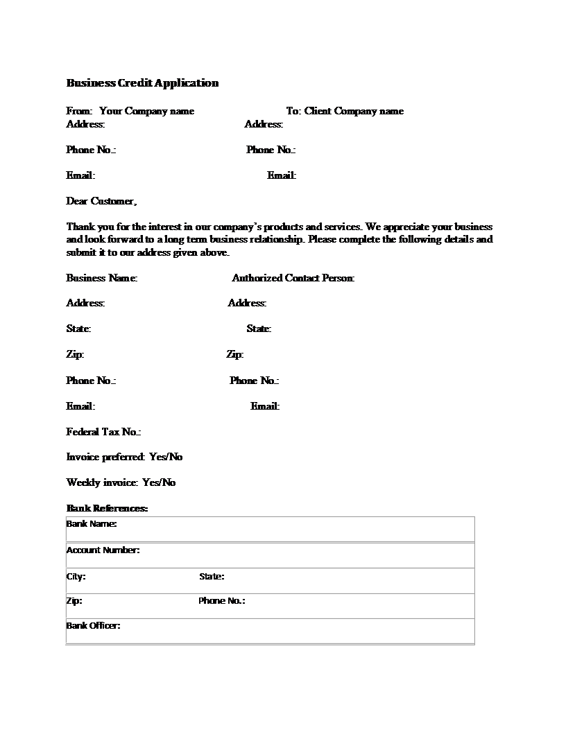 Business credit application form template flashek Gallery