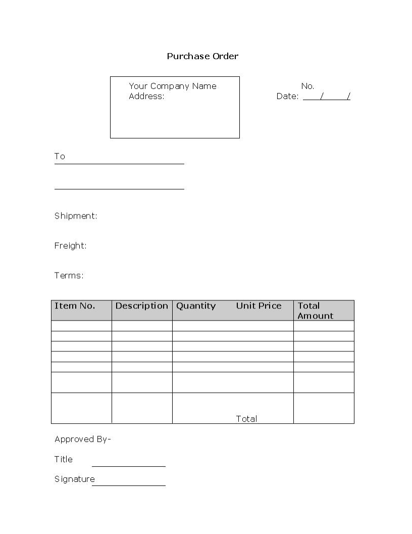 Purchase Order Form Template  Purchase Order Format Free Download