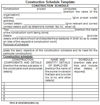 Construction schedule template for Building work schedule template