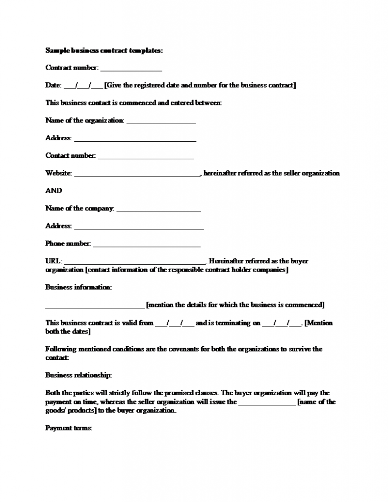 Sample Business Contract Template - Simple business agreement template