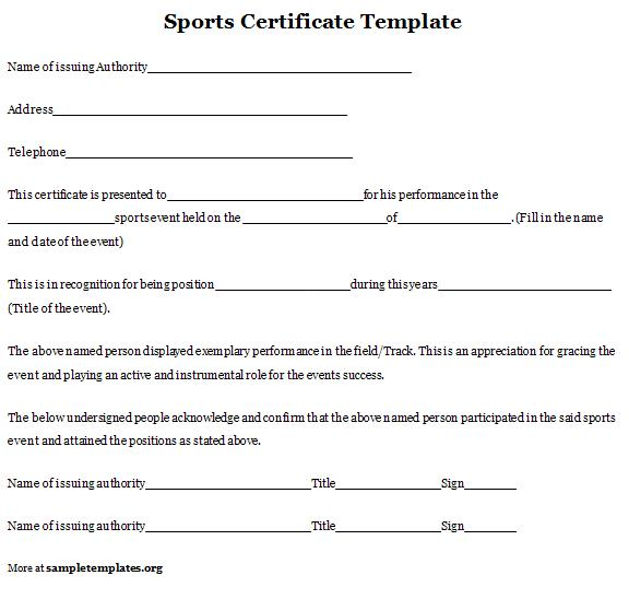 Sports certificate template for Athletic certificate template