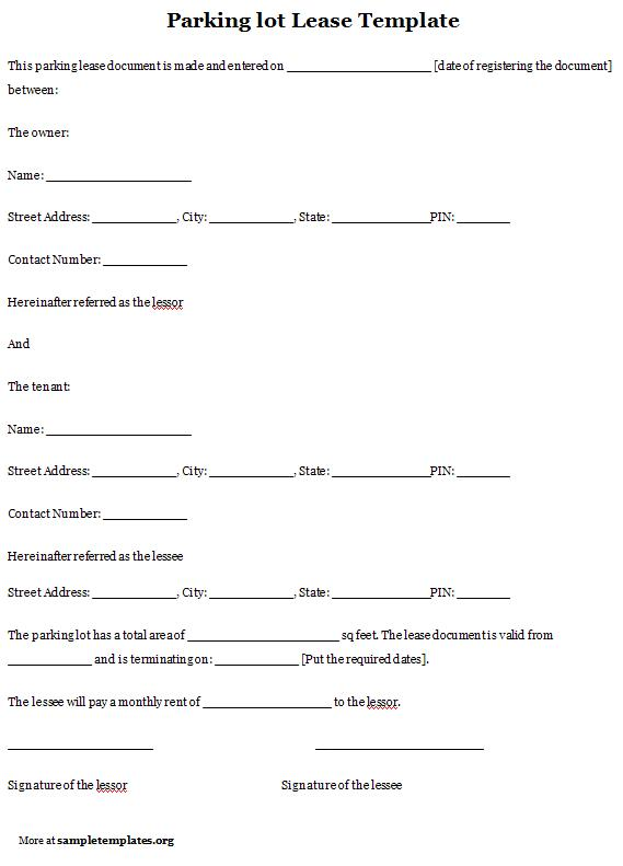parking lot lease template
